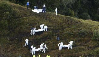Rescue workers carry the bodies of victims of an airplane crash in a mountainous area near La Union, Colombia, Tuesday, Nov. 29, 2016. The plane was carrying the Brazilian first division soccer club Chapecoense team that was on its way for a Copa Sudamericana final match against Colombia's Atletico Nacional. (AP Photo/Luis Benavides)