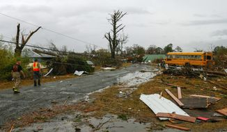 Rescue workers survey the damage after a suspected tornado ripped through the town of Rosalie, Ala., Wednesday, Nov. 30, 2016.  Storms that spawned deadly winds have dumped more than 2 inches of rain across much of north Alabama, causing floods after months of drought. (AP Photo/Butch Dill)