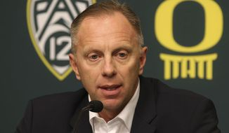 Oregon Athletic Director Rob Mullens talks to media after firing NCAA college football head coach Mark Helfrich Tuesday Nov. 29, 2016. (Chris Pietsch/The Register-Guard via AP)