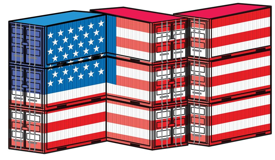 Illustration on the promotion of U.S. trade by Linas Garsys/The Washington Times