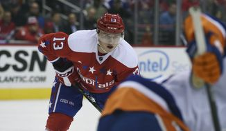 Washington Capitals left wing Jakub Vrana (13), of Czech Republic, makes his debut against the New York Islanders during an NHL hockey game, Thursday, Dec. 1, 2016, in Washington. (AP Photo/Molly Riley)