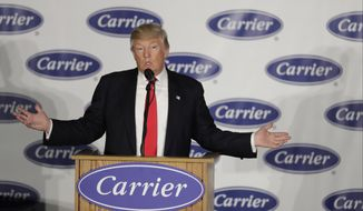 President-elect Donald Trump speaks at Carrier Corp. on Thursday, Dec. 1, 2016, in Indianapolis. (AP Photo/Darron Cummings) ** FILE **
