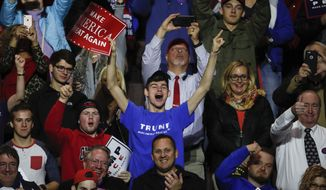 Supporters cheer as President-elect Donald Trump speaks during the first stop of his post-election tour, Thursday, Dec. 1, 2016, in Cincinnati. (AP Photo/John Minchillo)