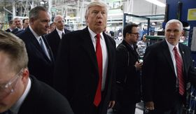 President-elect Donald Trump and Vice President-elect Mike Pence visit the Carrier factory, Thursday, Dec. 1, 2016, in Indianapolis, Ind. (AP Photo/Evan Vucci)