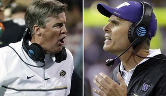 FILE - At left, in a Nov. 3, 2016, file photo, Colorado coach Mike MacIntyre argues a call during the first half of the team's NCAA college football game against UCLA in Boulder, Colo. At right, in an Oct. 22, 2016, file photo, Washington head coach Chris Petersen directs his team against Oregon State in an NCAA college football game in Seattle. Colorado and Washington play in the Pac-12 championship game Friday night in Santa Clara, Calif. (AP Photo/File)