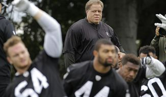 FILE - In this May 13, 2016, file photo, Oakland Raiders general manager Reggie McKenzie watches as players stretch during an NFL football rookie minicamp in Alameda, Calif. McKenzie's plan to rebuild the Raiders is finally coming to fruition. (AP Photo/Jeff Chiu, File)