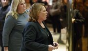 Sen. Heidi Heitkamp, D-N.D., arrives for a meeting with President-elect Donald Trump at Trump Tower, Friday, Dec. 2, 2016, in New York. (AP Photo/Evan Vucci)