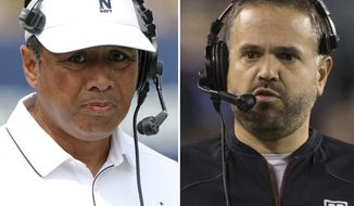 FILe - At left, in a Sept. 3, 2016, file photo, Navy head coach Ken Niumatalolo watches from the sidelines during an NCAA football game against Fordham, in Annapolis, Md. At right, in a Nov. 28, 2015, file photo, Temple head coach Matt Rhule reacts during the first half of an NCAA college football game against Connecticut, in Philadelphia. Temple (9-3) take on Navy (9-2) in the American Athletic Conference in Annapolis on Saturday. (AP Photo/File)
