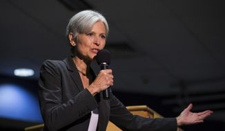 In this Sept. 21, 2016, file photo. Green Party presidential candidate Jill Stein delivers remarks at Wilkes University in Wilkes-Barre, Pa. Green Party-backed voters dropped a court case Saturday night, Dec. 3, 2016, that had sought to force a statewide recount of Pennsylvania's Nov. 8 presidential election, won by Republican Donald Trump, in what Green Party presidential candidate Stein had framed as an effort to explore whether voting machines and systems had been hacked and the election result manipulated. (Christopher Dolan/The Citizens' Voice via AP, File)