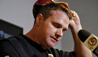 Washington Redskins head coach Jay Gruden speaks after an NFL football game against the Arizona Cardinals, Sunday, Dec. 4, 2016, in Glendale, Ariz. The Cardinals won 31-23. (AP Photo/Ross D. Franklin)