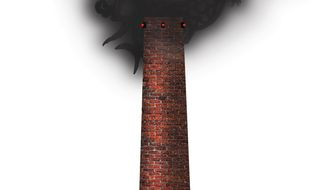 Illustration on Chinese industrial pollution by Alexander Hunter/The Washington Times