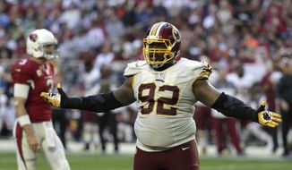 Washington Redskins defensive end Chris Baker (92) during an NFL football game against the Arizona Cardinals, Sunday, Dec. 4, 2016, in Glendale, Ariz. (AP Photo/Rick Scuteri)