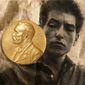 Illustration on Bob Dylan's being awarded the Nobel Prize for literature by Alexander Hunter/The Washington Times