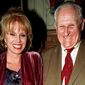 """In this April 29, 1998, file photo, actress  Joanna Lumley, left and actor Peter Vaughan, pose for a photo, in London. Veteran British character actor Peter Vaughan, who played the enigmatic Maester Aemon in """"Game of Thrones,"""" has died aged 93. Vaughan's agent Sally Long-Innes says he died Tuesday, Dec. 6, 2016 surrounded by his family. (Fiona Hanson/PA via AP, File) **FILE**"""