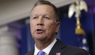 In this Friday, Sept. 16, 2016, file photo, Ohio Gov. John Kasich speaks during the daily news briefing at the White House in Washington. Kasich on Tuesday, Dec. 6, 2016 advised  state electors not to vote for him in an anti-Donald Trump protest.  (AP Photo/Carolyn Kaster, File)