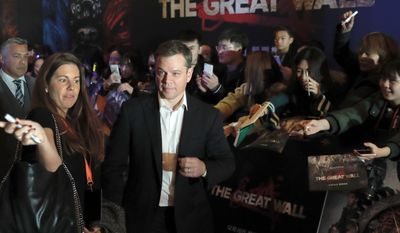 """Actor Matt Damon arrives at a red carpet event for the movie """"The Great Wall"""" at a hotel in Beijing, Tuesday, Dec. 6, 2016. Damon said Tuesday that his role in the new China-Hollywood production """"The Great Wall"""" was always intended to be European, responding to criticism that an Asian actor should have been picked for the part. (AP Photo/Andy Wong)"""