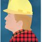 "Illustration on Trump and the ""blue collar"" American by Linas Garsys/The Washington Times"
