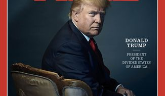 "This image provided by Time magazine, shows the cover of the magazine's Person of the Year edition with President-elect Donald Trump in New York. Time editor Nancy Gibbs said the publications choice was a straightforward choice of the person who has had the greatest influence on events ""for better or worse."" (Nadav Kander for Time Magazine via AP)"