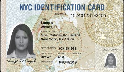 FILE - This undated file mage provided by New York City Hall shows a sample ID card issued by the city. New York City will stop keeping personal records from future applicants for its immigrant-friendly municipal ID cards, even as officials have been blocked from destroying over 900,000 current card-holders' records, at least for now. (New York City Hall via AP, File)