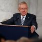 Sen. Harry Reid, the retiring Nevada Democrat who led the Senate Democrats for a dozen years, implored his party to stay strong in 2017. (Associated Press)