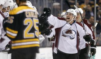 Colorado Avalanche's John Mitchell, right, celebrates his goal during the second period of an NHL hockey game against the Boston Bruins in Boston, Thursday, Dec. 8, 2016. (AP Photo/Michael Dwyer)
