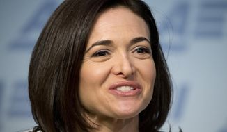 "FILE - In this June 22, 2016, file photo, Facebook Chief Operating Officer Sheryl Sandberg speaks at the American Enterprise Institute in Washington. Sandberg said on NBC's ""Today"" show Thursday, Dec. 8, 2016, that misinformation on Facebook didn't sway the election in favor of President-elect Donald Trump. (AP Photo/Alex Brandon, File)"