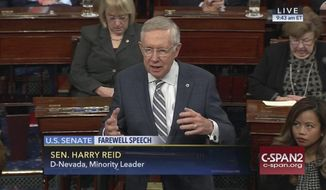 This image provided by C-SPAN2 shows retiring Senate Minority Leader Harry Reid of Nev. giving his final speech on the Senate floor on Capitol Hill in Washington, Thursday, Dec. 8, 2016. (C-SPAN2 via AP)