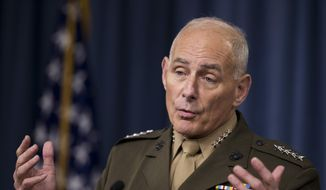 In this photo taken Jan. 8, 2016, Gen. John Kelly speaks to reporters during a briefing at the Pentagon. President-elect Donald Trump is tapping another four-star military officer for his administration. He has picked Kelly to lead the Homeland Security Department, according to people close to the transition. (AP Photo/Manuel Balce Ceneta)