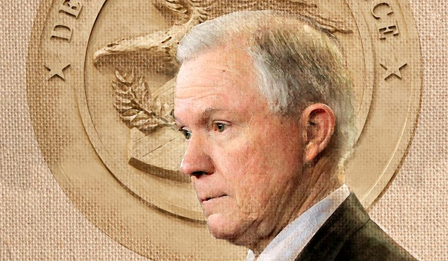 Illustration on Jeff Sessions for Attorney General by Alexander Hunter/The Washington Times