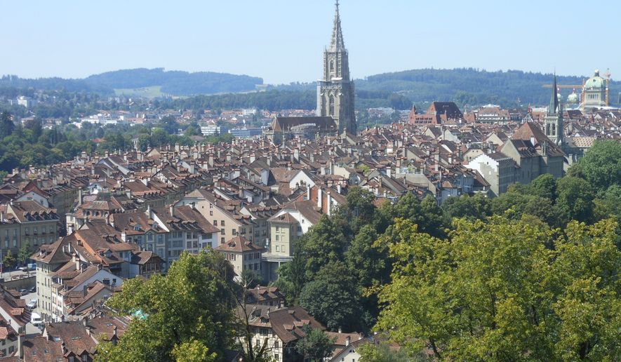 A View Of The Swiss Capital Of Bern From The Famed Rose