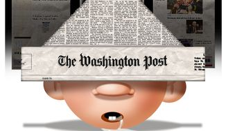 Illustration on the denial of liberal media by Alexander Hunter/The Washington Times