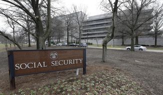 "In this Jan. 11, 2013, file photo, the Social Security Administration's main campus is seen in Woodlawn, Md. Rep. Sam Johnson of Texas, the chairman of the House Ways and Means subcommittee on Social Security, a key Republican lawmaker, wants to overhaul the nation's Social Security program, proposing to gradually increase the retirement age for Social Security and slow the growth of benefits for higher-income workers. Johnson introduced legislation just before the end of the congressional session in early December 2016, that he said would ""permanently save"" Social Security. (AP Photo/Patrick Semansky, File)"