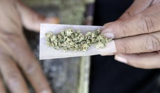 In this Nov. 9, 2016, file photo, a marijuana joint is rolled in San Francisco. (AP Photo/Marcio Jose Sanchez, File)