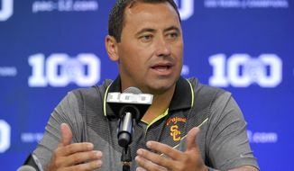 FILE - In this July 31, 2015, file photo, Southern California coach Steve Sarkisian speaks to reporters during NCAA college Pac-12 Football media days in Burbank, Calif. Alabama coach Nick Saban announced Friday, Dec. 16, 2016, that Sarkisian will replace Lane Kiffin, who has taken over the Florida Atlantic program. (AP Photo/Mark J. Terrill, File)