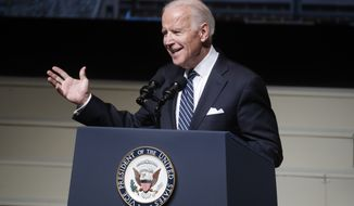 Vice President Joe Biden speaks at the funeral of John Glenn at The Ohio State University, Saturday, Dec. 17, 2016, in Columbus, Ohio. Glenn, the famed astronaut, died Dec. 8 at age 95. (AP Photo/John Minchillo)