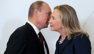 "As secretary of State, Hillary Clinton reached out to Russian leader Vladimir Putin as part of the Obama administration's ""reset"" policy, jettisoning George W. Bush's cold shoulder over nationalistic rhetoric. (Associated Press)"