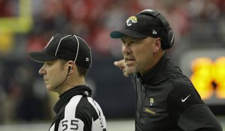 Jacksonville Jaguars head coach Gus Bradley is shown during the first half of an NFL football game Sunday, Dec. 18, 2016, in Houston. (AP Photo/David J. Phillip)