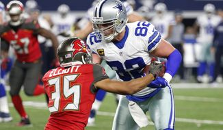 Dallas Cowboys tight end Jason Witten (82) fights off a tackle attempt by Tampa Bay Buccaneers' Javien Elliott (35) after catching a pass in the second half of an NFL football game, Sunday, Dec. 18, 2016, in Arlington, Texas. (AP Photo/Michael Ainsworth)
