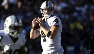 Oakland Raiders quarterback Derek Carr looks to throw a pass during the first half of an NFL football game against the San Diego Chargers Sunday, Dec. 18, 2016, in San Diego. (AP Photo/Denis Poroy)