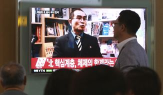 "In this Aug. 17, 2016 photo, people watch a TV news program showing a file image of Thae Yong Ho, a high-profile North Korean defector, at Seoul Railway Station in Seoul, South Korea. Thae told on Monday, Dec. 19, 2016, South Korean lawmakers that he decided to flee because of disillusionment with what he describes as a ""tyrannical reign of terror"" by leader Kim Jong Un. The letters read ""A high-ranking North Korean diplomat."" (AP Photo/Ahn Young-joon, File)"