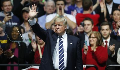 In this Friday, Dec. 9, 2016, file photo, President-elect Donald Trump waves to supporters during a rally in Grand Rapids, Mich. (AP Photo/Paul Sancya, File)
