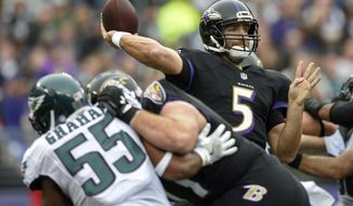 Baltimore Ravens quarterback Joe Flacco (5) passes the ball during the first half of an NFL football game against the Philadelphia Eagles in Baltimore, Sunday, Dec. 18, 2016. (AP Photo/Nick Wass)