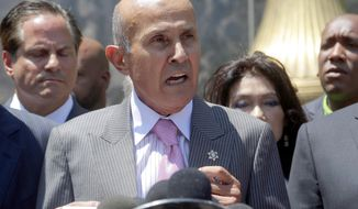 FILE- In this Aug. 1, 2016, file photo, former Los Angeles County Sheriff Lee Baca speaks to the media after leaving federal court in Los Angeles. Closing arguments are scheduled Monday, Dec. 19, in the obstruction of justice trial of Baca. (AP Photo/Nick Ut, File)