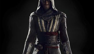 """This image released by 20th Century Fox shows Michael Fassbender as Callum Lynch in a scene from """"Assassin's Creed.""""  (Kerry Brown/20th Century Fox via AP)"""