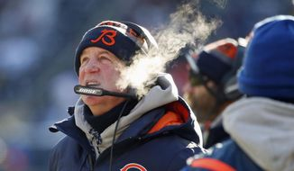 Chicago Bears head coach John Fox looks up the scoreboard during the first half of an NFL football game against the Green Bay Packers, Sunday, Dec. 18, 2016, in Chicago. (AP Photo/Nam Y. Huh)