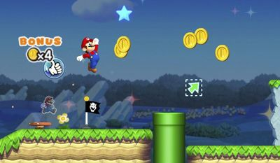 """This image provided by Nintendo shows a screenshot from the game """"Super Mario Run,"""" which the gaming giant released for the iPhone on Dec. 15, 2016. Nintendo has done a good job translating Mario's classic, side-scrolling world to a mobile screen, but the game's $10 price tag, as well as a requirement for players to be constantly connected to the internet while playing, could turn off all but the most hardcore fans. (Nintendo via AP)"""