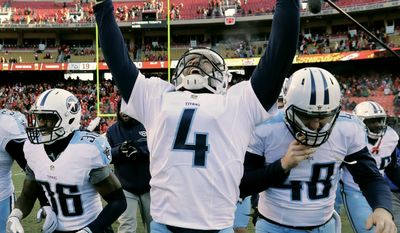 Tennessee Titans kicker Ryan Succop (4) celebrates after making the winning field goal during the second half of an NFL football game against the Kansas City Chiefs, Sunday, Dec. 18, 2016 in Kansas City, Mo. ( AP Photo/Charlie Riedel)