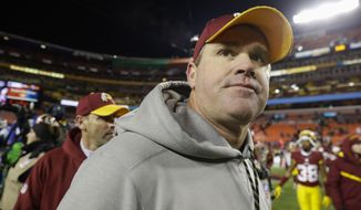 Washington Redskins head coach Jay Grudge walks off the field after an NFL football game against the Carolina Panthers in Landover, Md., Monday, Dec. 19, 2016. The Panthers defeated the Redskins 26-15. (AP Photo/Patrick Semansky)