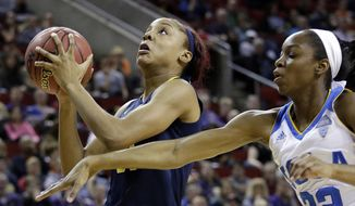 FILE - In this March 5, 2016, file photo, California's Kristine Anigwe, left, shoots as UCLA's Kennedy Burke defends during the first half of an NCAA college basketball game in the Pac-12 Conference women's tournament in Seattle. A few days after Golden State Warriors star Klay Thompson went off for 60 points in less than three quarters, reigning Pac-12 women's basketball Freshman of the Year Anigwe notched a milestone night of her own in the East Bay. (AP Photo/Elaine Thompson, File)