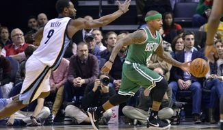 Boston Celtics guard Isaiah Thomas, right, drives past Memphis Grizzlies guard Tony Allen (9) in the first half of an NBA basketball game, Tuesday, Dec. 20, 2016, in Memphis, Tenn. (AP Photo/Brandon Dill)